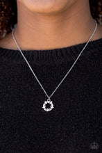 Load image into Gallery viewer, Dainty silver hearts and glittery white rhinestones join into a round dainty pendant below the collar for a romantic look. Features an adjustable clasp closure.  Sold as one individual necklace. Includes one pair of matching earrings.  Always nickel and lead free.