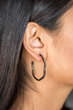 "Load image into Gallery viewer, A glistening gunmetal bar zigzags into an edgy hoop for a fierce industrial look. Earring attaches to a standard post fitting. Hoop measures 1 1/2"" in diameter.  Sold as one pair of hoop earrings.  Always nickel and lead free."