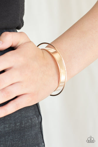Featuring rose gold beaded fittings, a dainty rose gold bar arcs over a flat rose gold cuff and is fitted in place for a sleek, modern look.  Sold as one individual bracelet. Always nickel and lead free.