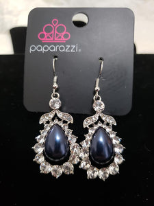 Award Winning Shimmer Navy Blue Silver Earrings
