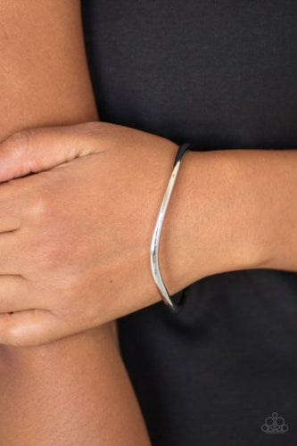 Paparazzi Awesomely Asymmetrical Silver Bangle Bracelet