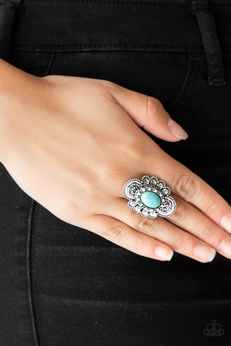 Dotted in shimmery patterns, textured silver petals bloom from a refreshing turquoise stone center for a bold seasonal look. Features a stretchy band for a flexible fit.  Sold as one individual ring.  Always nickel and lead free.