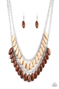 Paparazzi Beaded Boardwalk Brown Necklace Set