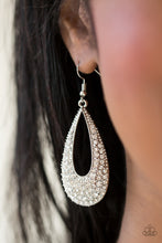 Load image into Gallery viewer, As if dipped in glitter, an airy teardrop lure is encrusted in row after row of glittery white rhinestones for a dramatic look. Earring attaches to a standard fishhook fitting.  Sold as one pair of earrings.  Always nickel and lead free.