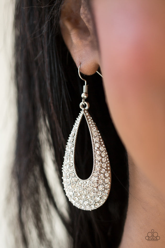 As if dipped in glitter, an airy teardrop lure is encrusted in row after row of glittery white rhinestones for a dramatic look. Earring attaches to a standard fishhook fitting.  Sold as one pair of earrings.  Always nickel and lead free.