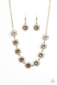Paparazzi BLOOM Or Bust Brass Necklace Set