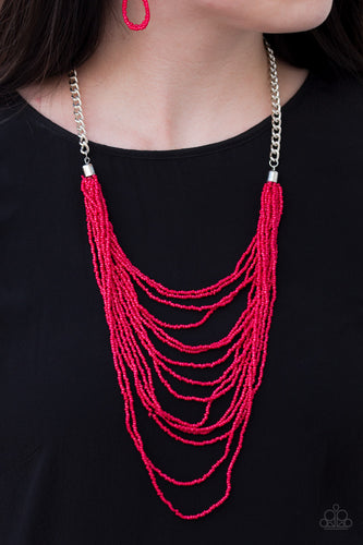 Row after row of fiery red seed beads cascade down the chest, creating summery layers. Features an adjustable clasp closure.  Sold as one individual necklace. Includes one pair of matching earrings.  Always nickel and lead free.