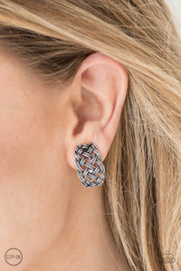 Brushed in an antiqued shimmer, rope-like silver bars weave into a tactile frame. Earring attaches to a standard clip-on fitting.  Sold as one pair of clip-on earrings.    Always nickel and lead free.