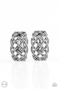 Braided Rivers Silver Clip On Earrings
