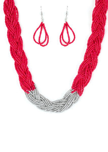 Paparazzi Brazilian Brilliance Red Necklace Set