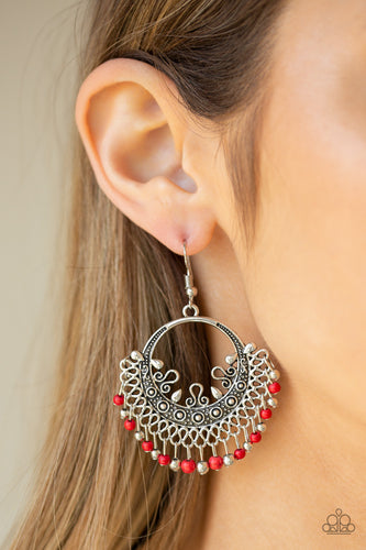 A fringe of dainty silver beads and fiery red stone beads swing from the bottom of an ornate silver hoop dotted in stunning detail for a seasonal flair. Earring attaches to a standard fishhook fitting.  Sold as one pair of earrings.  Always nickel and lead free.