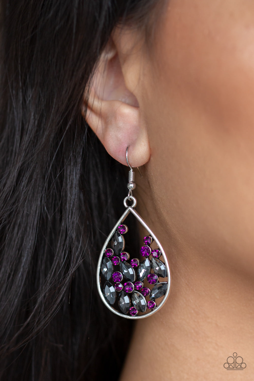 Classic purple and smoky marquise-cut rhinestones collect inside of an airy silver frame, coalescing into a sparkling teardrop. Earring attaches to a standard fishhook fitting.  Sold as one pair of earrings.  Always nickel and lead free.