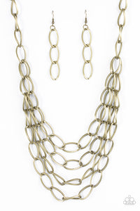 Paparazzi Chain Reaction Brass Necklace Set