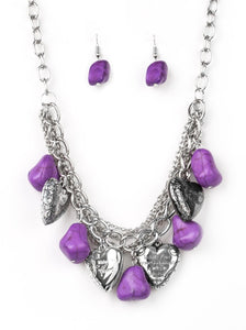 Paparazzi Change Of Heart Purple Necklace Set