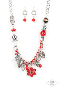Paparazzi Charmed, I Am Sure Red Necklace Set