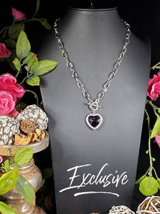 Paparazzi Exclusive Check Your Heart Rate Purple Necklace Set