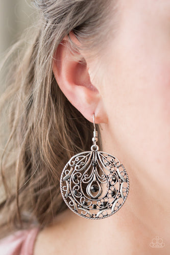 Sparkling black rhinestones are sprinkled along a swirling silver backdrop radiating with whimsical filigree. Earring attaches to a standard fishhook fitting.  Sold as one pair of earrings.  Always nickel and lead free.