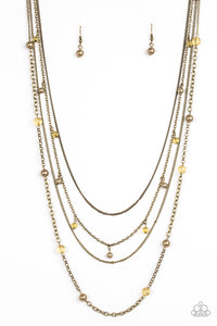 Paparazzi City Cache Brass Necklace Set