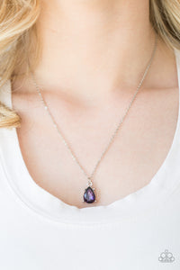 Featuring a regal teardrop cut, a glittery purple gem swings from the bottom of a dainty silver chain, creating a timeless pendant below the collar. Features an adjustable clasp closure.  Sold as one individual necklace. Includes one pair of matching earrings.  Always nickel and lead free.