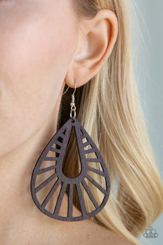 Brushed in a shiny brown finish, an ornate wooden teardrop swings from the ear for a seasonal look. Earring attaches to a standard fishhook fitting.  Sold as one pair of earrings.  Always nickel and lead free.