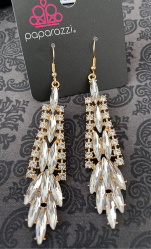 Gorgeous white marquise and round cut rhinestones shine in an elegant gold setting. Earring attaches to a standard fishhook fitting.  Sold as one pair of earrings.   Always nickel and lead free.  Fashion Fix April 2021 Exclusive