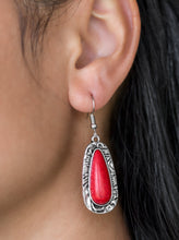 Load image into Gallery viewer, Chiseled into a tranquil teardrop, a fiery red stone is pressed into the center of a shimmery silver frame radiating with hammered details for an artisan inspired look. Earring attaches to a standard fishhook fitting.  Sold as one pair of earrings.  Always nickel and lead free.