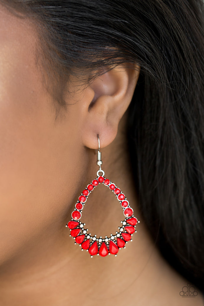 Featuring tranquil teardrop and round cuts, red beads are pressed into a teardrop-shaped frame for a summery look. Earring attaches to standard fishhook fitting.  Sold as one pair of earrings.     Always nickel and lead free.