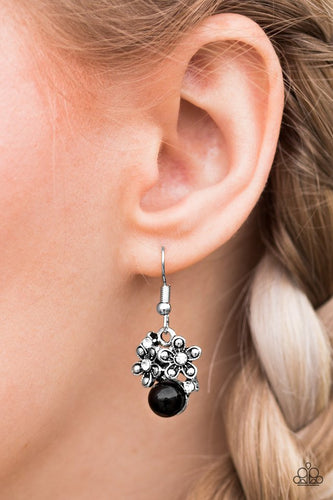 Sprinkled in shiny silver studs and glittery white rhinestones, shimmery silver flowers dance atop a black bead, creating a seasonal lure. Earring attaches to a standard fishhook fitting.  Sold as one pair of earrings.  Always nickel and lead free.