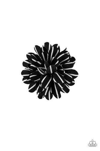 Striped in white, soft black petals gather into two dainty blossoms for a seasonal flair. Features a standard hair clip on the back.  Sold as one pair of hair clips.  Always nickel and lead free.