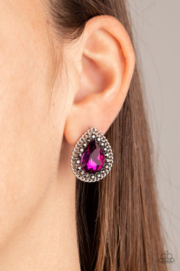 Paparazzi Debutante Debut Pink Post Earrings