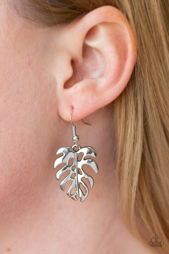 Brushed in a high-sheen finish, a silver palm leaf dangles from the ear for a summery look. Earring attaches to a standard fishhook fitting.  Sold as one pair of earrings.  Always nickel and lead free.