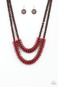 Paparazzi Dominican Disco Red Necklace Set