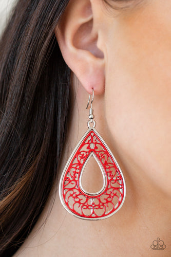 Brushed in a vibrant red finish, a vine-like background is pressed into a glistening silver teardrop frame for a whimsical look. Earring attaches to a standard fishhook fitting.  Sold as one pair of earrings.  Always nickel and lead free.