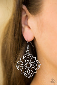 Glistening silver teardrop silhouettes join into an airy frame for a whimsical look. Earring attaches to a standard fishhook fitting.  Sold as one pair of earrings. Always nickel and lead free.