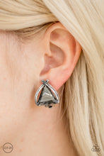 Load image into Gallery viewer, Brushed in an antiqued shimmer, glistening silver bars fold around a triangular gem for a refined look. Earring attaches to a standard clip-on fitting.  Sold as one pair of clip-on earrings.  Always nickel and lead free.