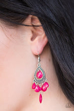 Load image into Gallery viewer, Faceted pink teardrops swing from the bottom of a studded silver teardrop, creating a colorful lure. A matching pink teardrop swings from the top of the teardrop frame for a whimsical finish. Earring attaches to a standard fishhook fitting.  Sold as one pair of earrings.  Always nickel and lead free.