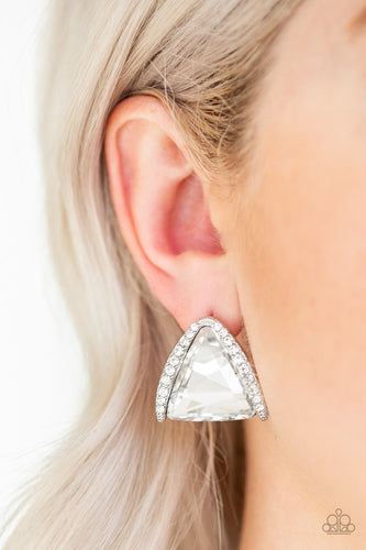Featuring a regal triangular cut, an oversized white gem is nestled in an angled silver frame radiating with dainty white rhinestones for a glamorous look. Earring attaches to a standard post fitting.  Sold as one pair of post earrings.  Always nickel and lead free.