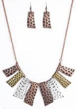 Load image into Gallery viewer, Paparazzi Blockbuster A Fan of the Tribe Copper Necklace Set