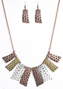 Paparazzi Blockbuster A Fan of the Tribe Copper Necklace Set