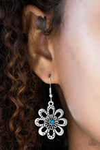 Load image into Gallery viewer, Smooth and hammered silver petals bloom from a radiant blue rhinestone center, creating a whimsical frame. Earring attaches to a standard fishhook fitting.  Sold as one pair of earrings.    Always nickel and lead free.