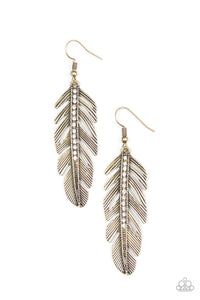 Paparazzi Feather On Fleek Brass Earrings