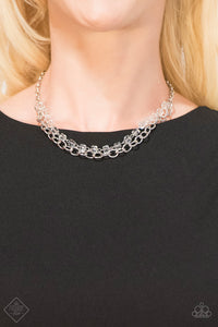 A strand of iridescent white crystal-like cube beading joins a classic strand of silver chain below the collar, creating refined layers. Features an adjustable clasp closure.  Sold as one individual necklace. Includes one pair of matching earrings.   Fiercely Fifth Avenue Fashion Fix January 2019    Always nickel and lead free.