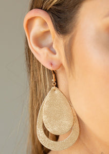 Brushed in a metallic gold finish, sparkling leather teardrops drip from the ear, coalescing into a trendy lure. Earring attaches to a standard fishhook fitting.  Sold as one pair of earrings.  Always nickel and lead free.