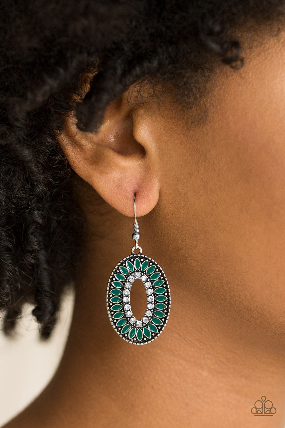 Refreshing green petals bloom from a glittery white rhinestone center, creating a fabulous frame. Earring attaches to a standard fishhook fitting.  Sold as one pair of earrings.  Always nickel and lead free.