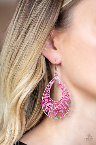Brushed in a vivacious pink finish, a shimmery silver teardrop frame rippling with ornate petal-like textures swings from the ear in a whimsical fashion. Earring attaches to a standard fishhook fitting.  Sold as one pair of earrings.  Always nickel and lead free.