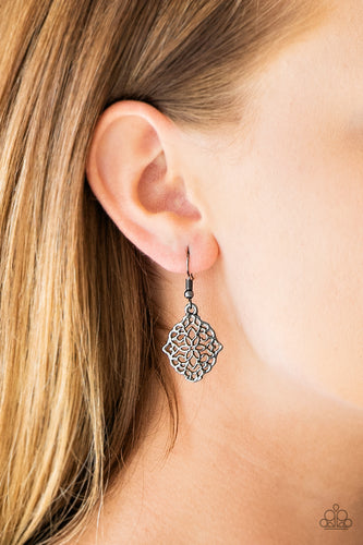 Brushed in a high-sheen finish, shimmery gunmetal filigree spins into a whimsical floral frame for a seasonal look. Earring attaches to a standard fishhook fitting.  Sold as one pair of earrings. Always nickel and lead free.