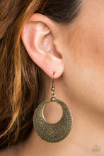 Load image into Gallery viewer, Stamped in whimsical floral details, a glistening brass frame swings from the ear in a seasonal fashion. Earring attaches to a standard fishhook fitting.  Sold as one pair of earrings.  Always nickel and lead free.