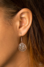 Load image into Gallery viewer, Glistening floral filigree blooms across a circular copper frame for a whimsical seasonal look. Earring attaches to a standard fishhook fitting.  Sold as one pair of earrings.  Always nickel and lead free.