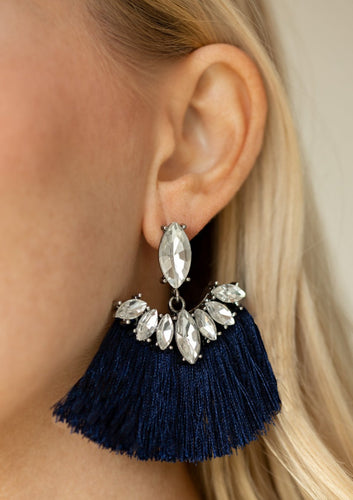 A solitaire marquise -cut rhinestone gives way to a plume of shiny blue thread crowned in a matching rhinestone encrusted fringe for a glamorous look. Earring attaches to a standard post fitting.  Sold as one pair of post earrings.  Always nickel and lead free.