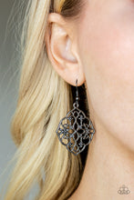 Load image into Gallery viewer, Brushed in a high sheen shimmer, glistening gunmetal filigree swirls into a whimsical floral frame for a seasonal look. Earring attaches to standard fishhook fitting.  Sold as one pair of earrings..  Always nickel and lead free.